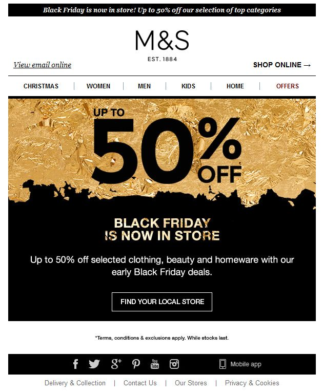 M\S Black Friday Coupon Creative Pinterest Black Friday   Coupon Layouts  Coupon Layouts