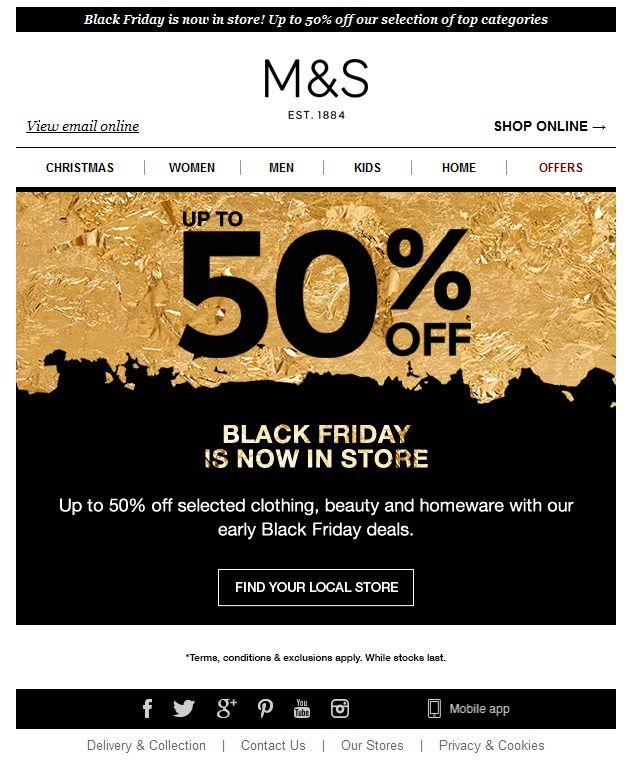 M&S Black Friday | Coupon Creative | Pinterest | Black ...