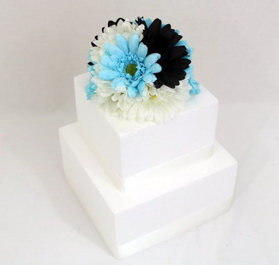 Tiffany Blue And Black Wedding Ideas: Wedding Cake Topper With Black, Tiffany Blue And White