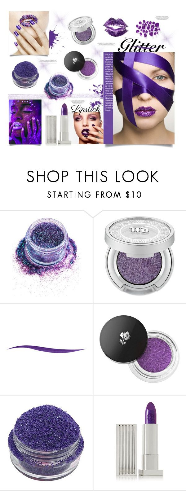 """""""Purple Glitter Lips"""" by ashleydawn2 ❤ liked on Polyvore featuring beauty, In Your Dreams, Urban Decay, Lancôme, Lipstick Queen and glitterlips"""