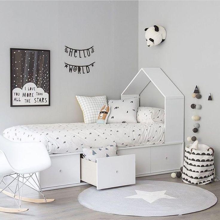 black, white, and grey bedroom - Kids room | Pinterest - Kinderkamer ...