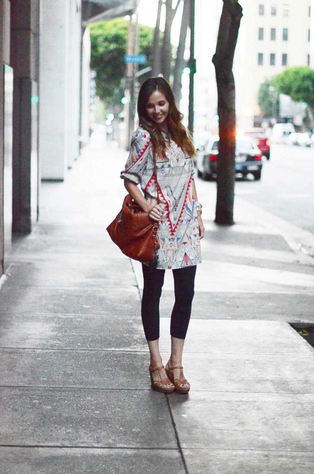 f5a324b6ec54 Cute tunic, capri leggings, brown heeled sandals, slouchy carmel  bag.....have all the items already in my closet.