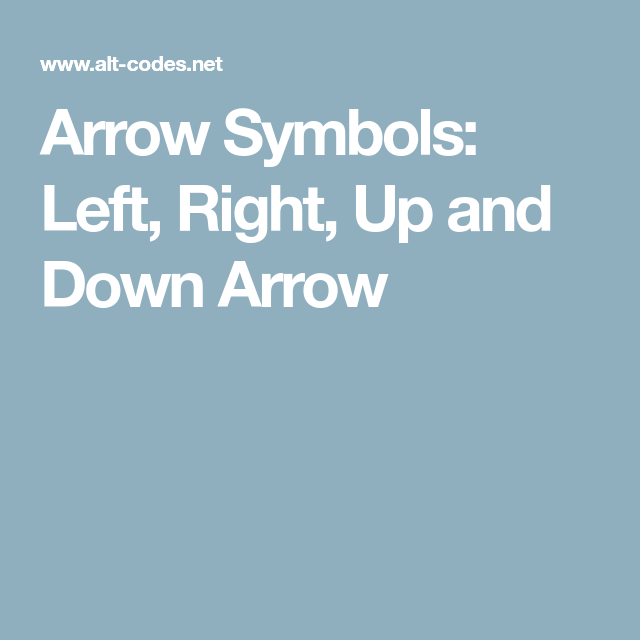 Arrow Symbols Left Right Up And Down Arrow Do It Yourself