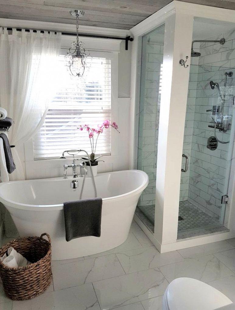 Freestanding Tub And Shower In Farmhouse Bathroom Ideas And Inspo For Remodeling Smallbathroomdesign Bathroom Inspiration Modern Bathroom