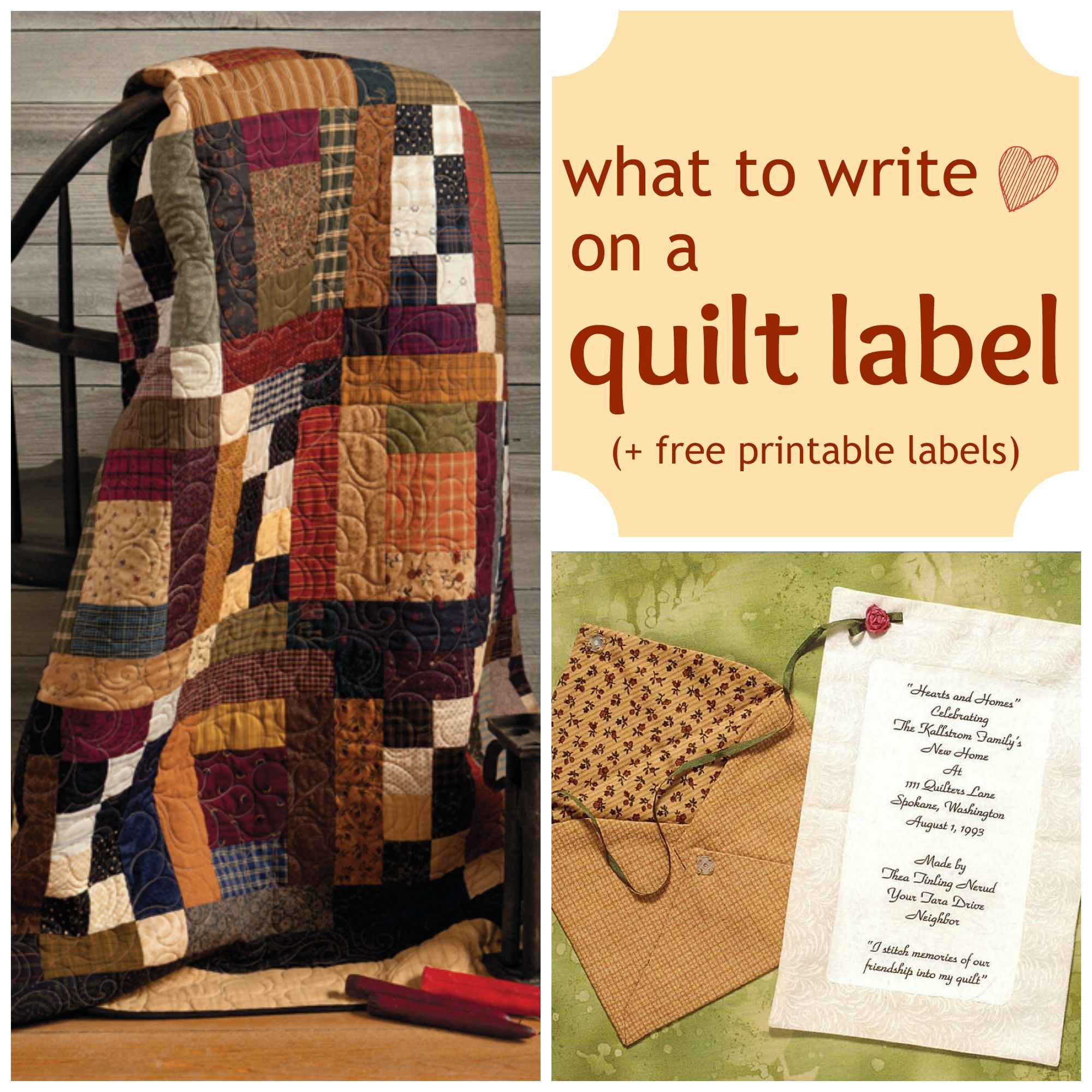 What to write on a quilt label + FREE printable labels | Handmade ... : pinterest quilting tips - Adamdwight.com