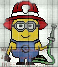 Minion Pompier Grille C2c Crochet Point De Croix Modèles