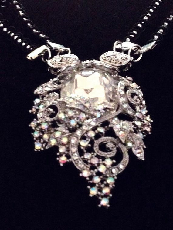 Crystal Pendant Necklace converts from 20in by MadisonHeightsJwlry, $28.28