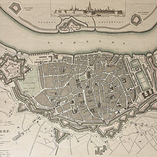 Belgium Topographic Map.19th Century Topographical Vintage Antique Map Of Antwerp Belgium