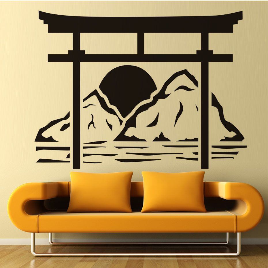 Japanese Torii Wall Decals Sun rise Removable Vinyl adhesive Wall ...