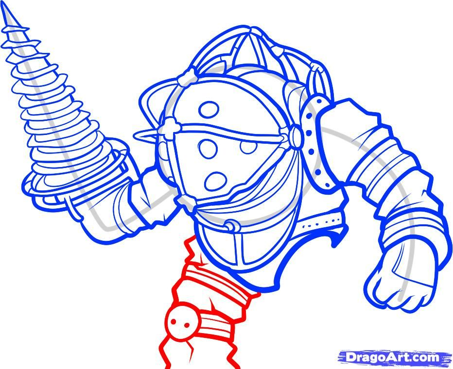 How To Draw Big Daddy Big Daddy Bioshock Step 7 In 2019