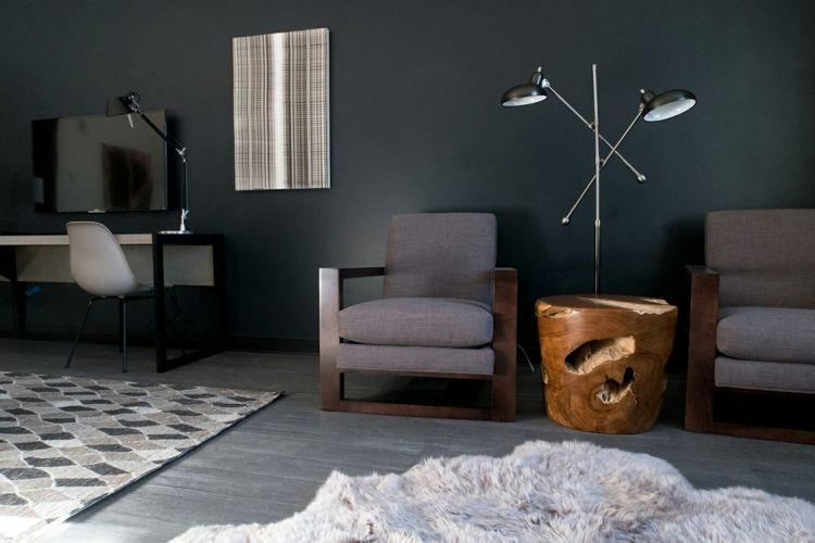 Fell Weiß Sessel Braun Grau Wandfarbe #wohnzimmer #livingroom