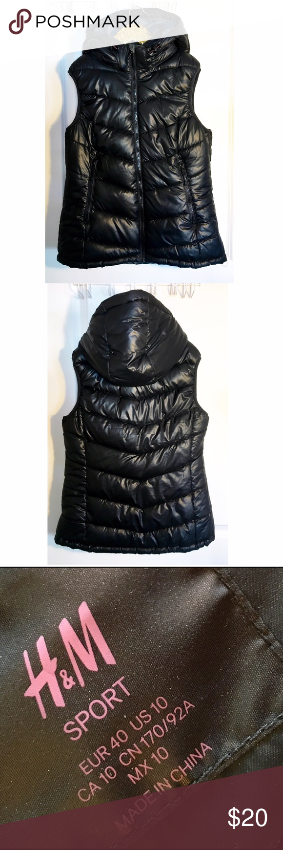 H&M black quilted vest Worn once, size 10 puffy vest. I wore is loose so I could fit sweaters under it in the winter. Looks cute layered or as a tight fit too! No flaws H&M Jackets & Coats Vests