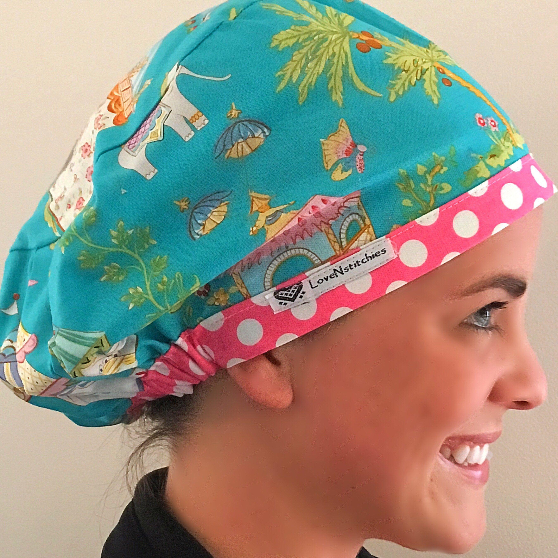 Surgical Cap Scrub Cap Vet Hat Dental Office Hat Tie back scrub hat for Women Surgical Hat