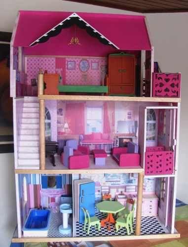 Casa mu ecas barbies juguetes madera tres pisos ascensor for Muebles para montar