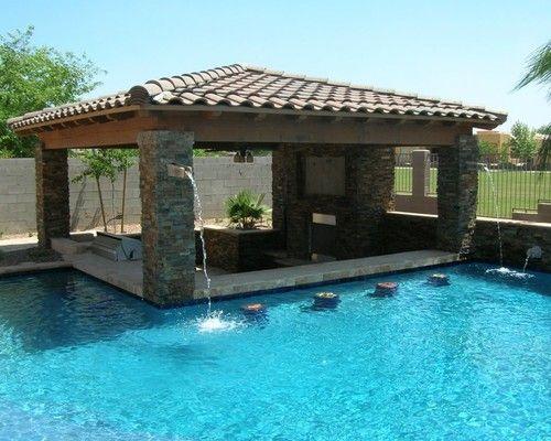 Swim Up Bar Home Pool Houses Backyard Pool Swimming Pool Designs