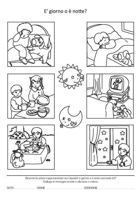actividades de dia y de noche para niños para colorear