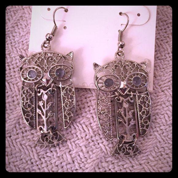 Dangle owl earrings with gem eyes Cute flower/tree design on dangle body owl earrings! Love how the Owls move freely! Never worn Dress Barn Jewelry Earrings