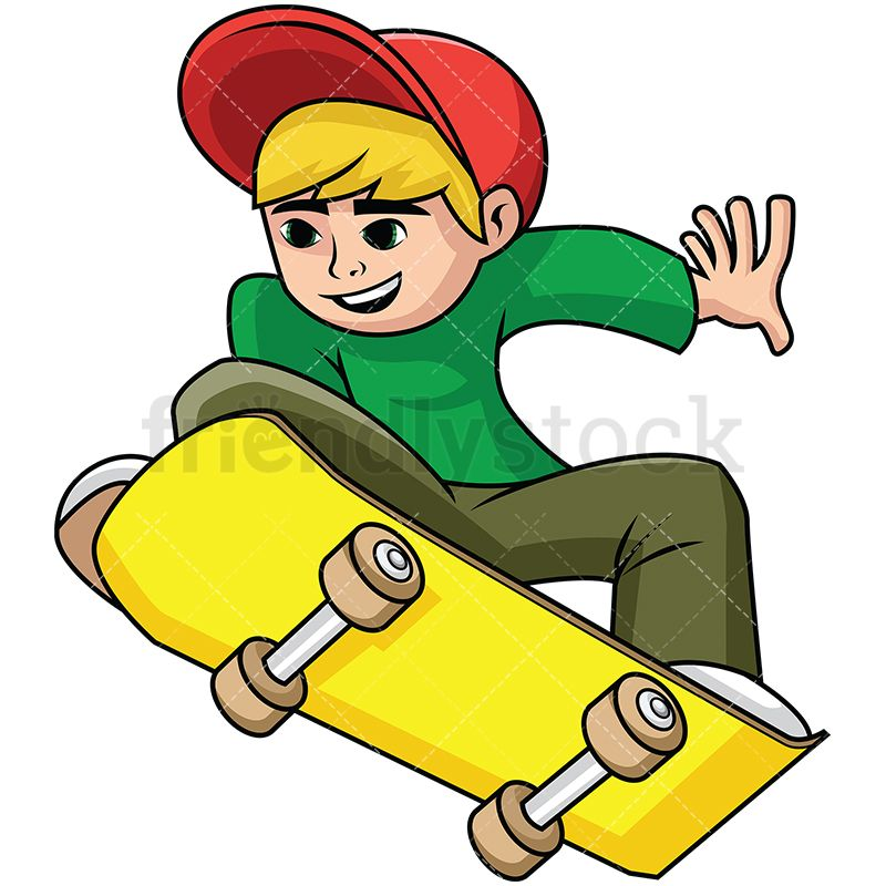 Teenager Jumping With Skateboard In 2020 Cartoons Vector