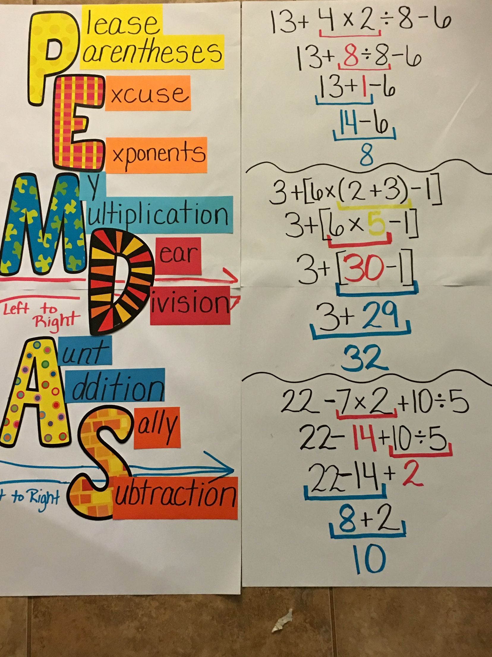 Giant Pemdas Anchor Chart
