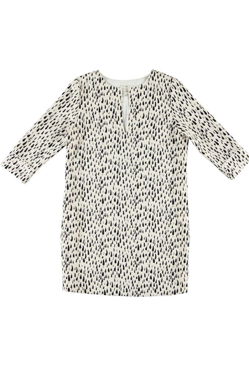 Ecru kleedje met zwarte verfveegjes-print Uitsnijding aan de hals Polyester incraftpre