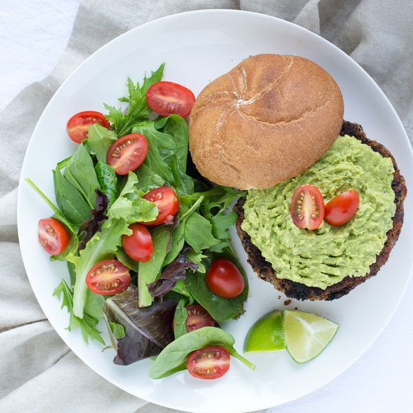 Black Bean Burgers with Avocado Spread & Mixed Greens Salad