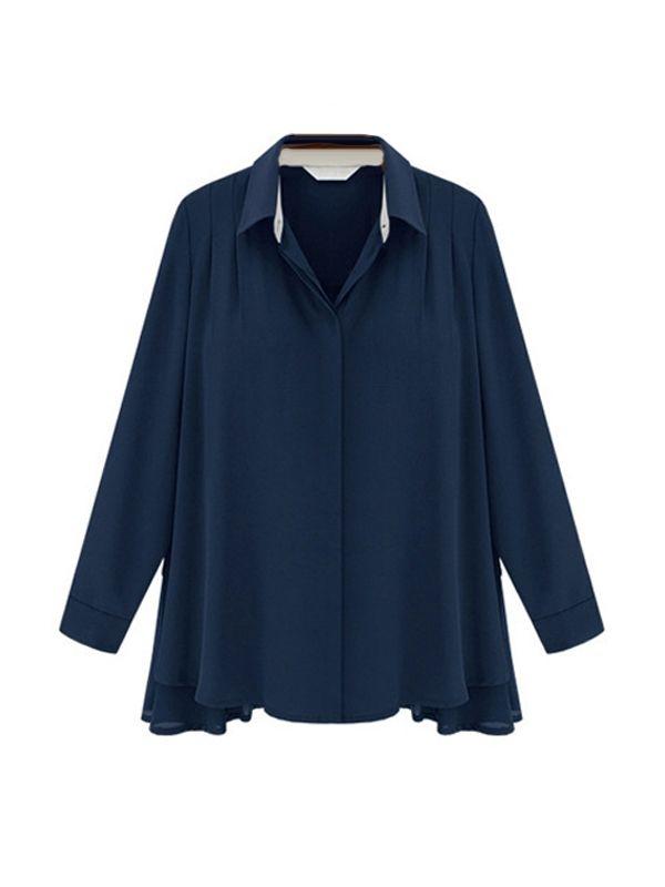 Fashion Plus Size Polo Collar Long Sleeve Chiffon Blouse