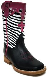 d60e34978829 Anderson Bean Kids' Black Dynatan Boots w/ Zebra Tops -- Your kids will  have a ton of fun with these awesome zebra print cowboy boots! |  SouthTexasTack.com
