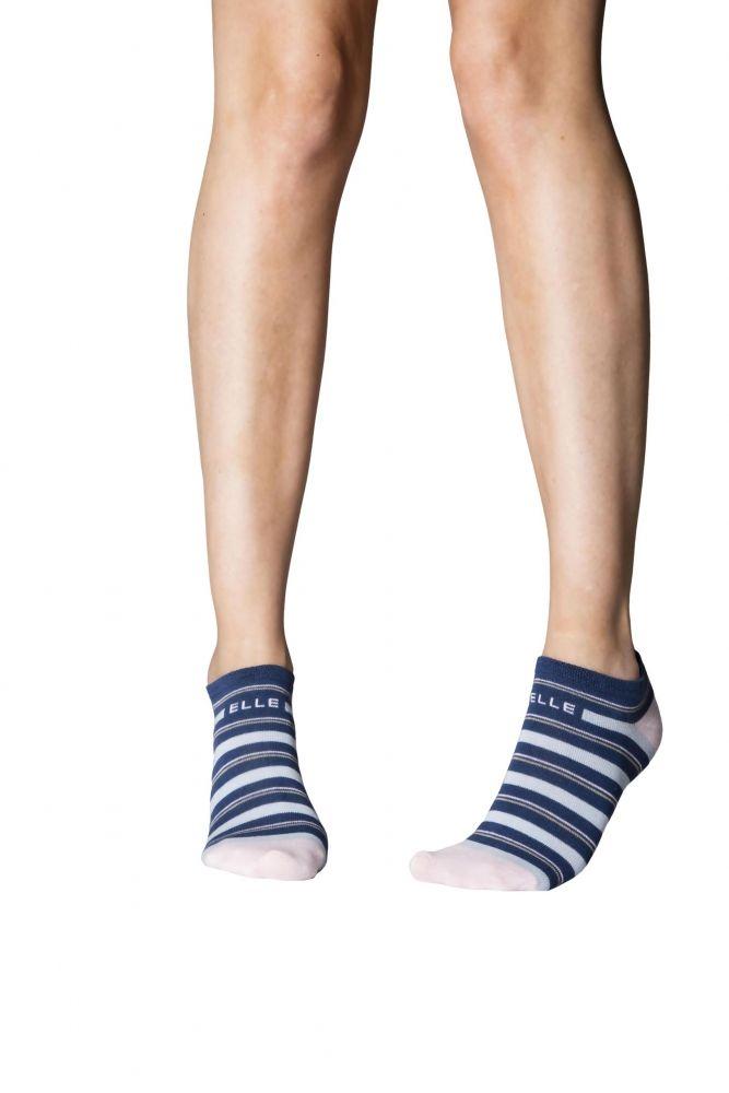Ladies 3 Pair Elle Striped Cotton No Show Socks | No show