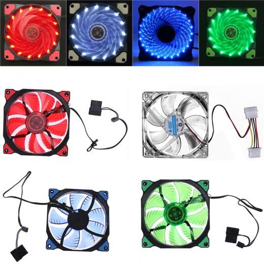 15 Led Lights 3 4 Pin Fans 12v Dc Clear 120mm Quiet Pc Computer Fans Cooling Besprod Computer Fan Pc Computer Computer Case