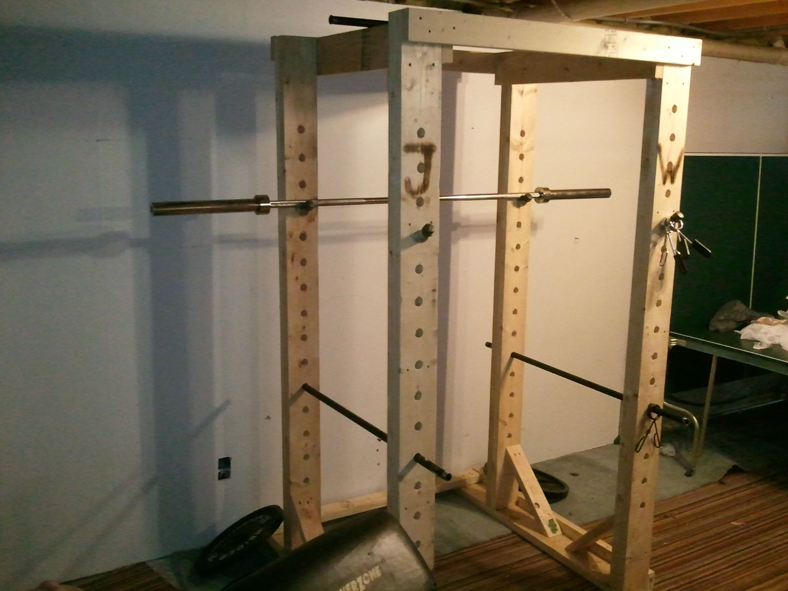 Homemade wooden power rack power rack gym and gym stuff for A squat rack