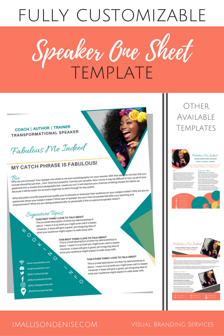 One Sheet Template | Speaker One Sheet Template Edgy Allison Denise Designs
