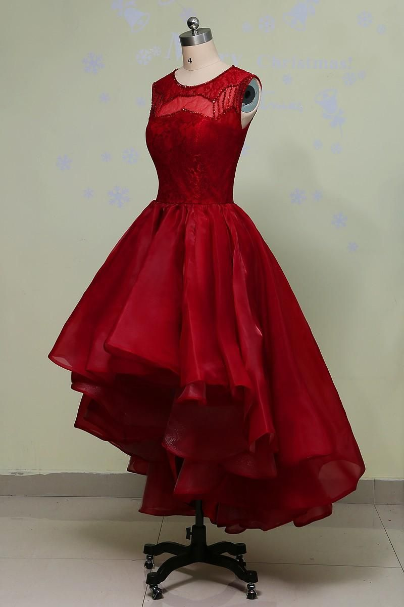 c77d6d6a598 Organza Hi-Lo Dress 2017 Red Green Jewel Beads Tea Length Evening Plus Size  Lace Party Gowns Short Real Photo Formal Prom Dresses AD49