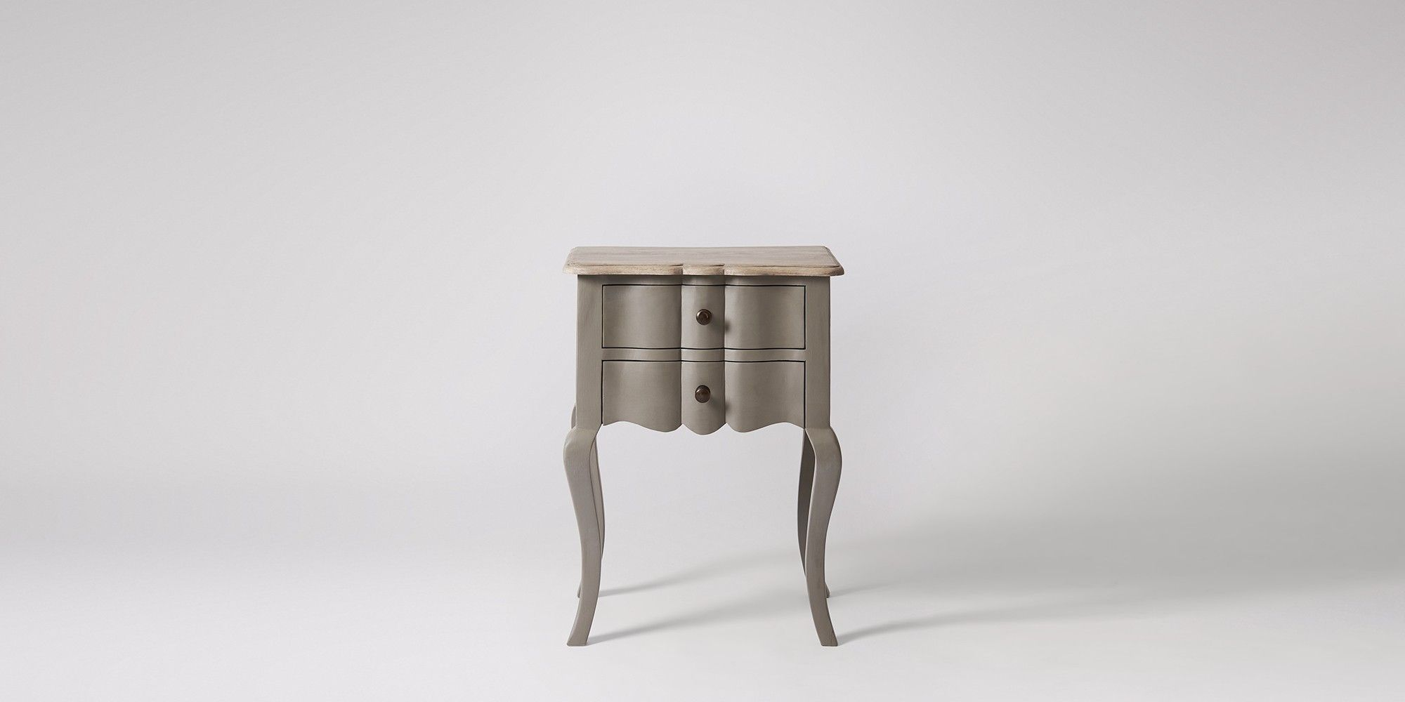 The Delightful Arielle Two Drawer Bedside Table In French Grey Celebrate Making At Swoon Editions Hand Crafted Designs Without Inflated Price
