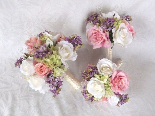 Lilac With Pink Blush White Roses Green Hydrangea Bouquet