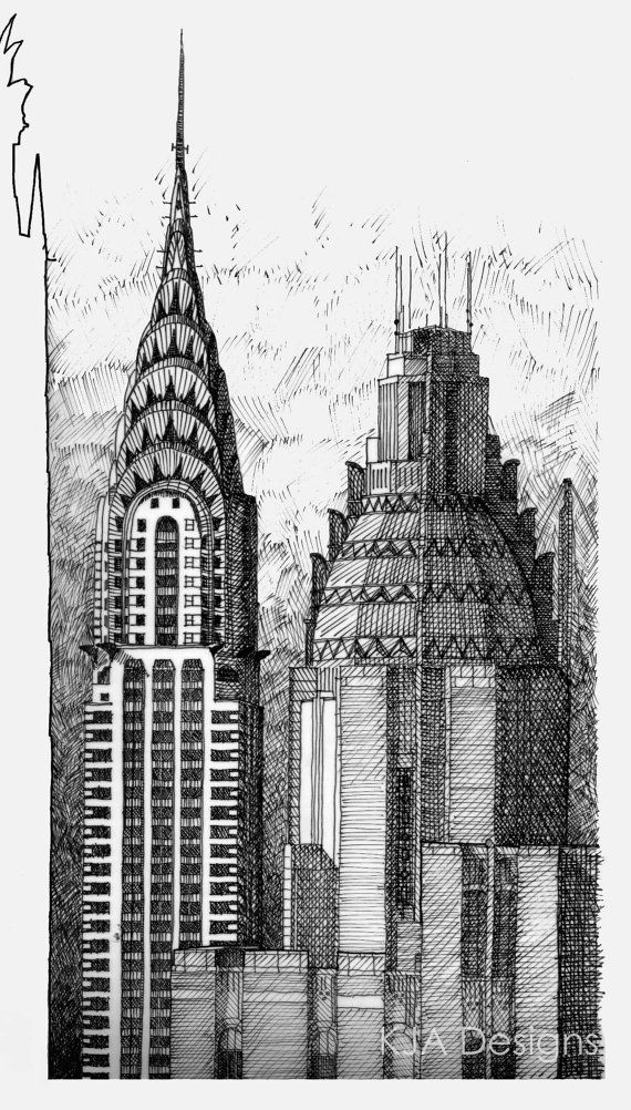 Chrysler Building Pen Ink Drawing Print Limited By Kjadesigns