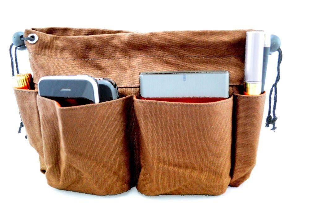 Handbag Organiser Liner Insert 8 Pockets Brown Olivia