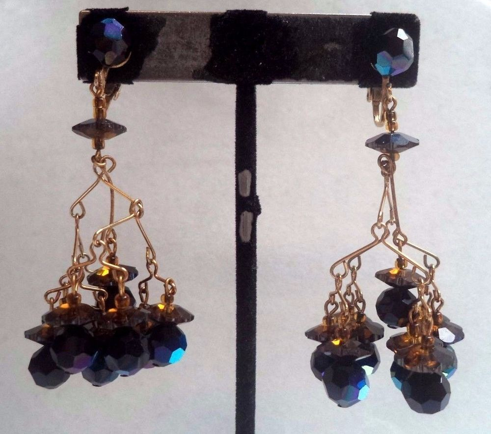 "STUNNING VINTAGE ESTATE HIGH END AB GLASS CHANDELIER CLIP 7/8"" EARRINGS!!! G5462"