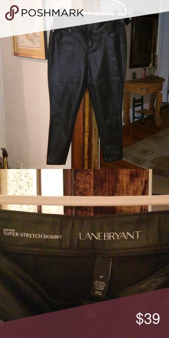 609dec815a2ad Lane Bryant High Rise Shiny Black Skinny Jean 14P Lane Bryant high rise  super-stretch