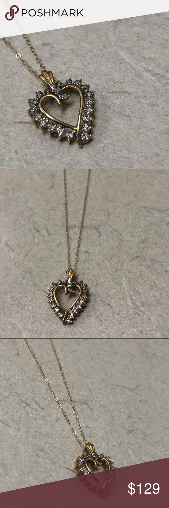 10k Jcm Heart Pendant Necklace Chain Heart Pendant Necklace Chains Necklace Pendant Necklace