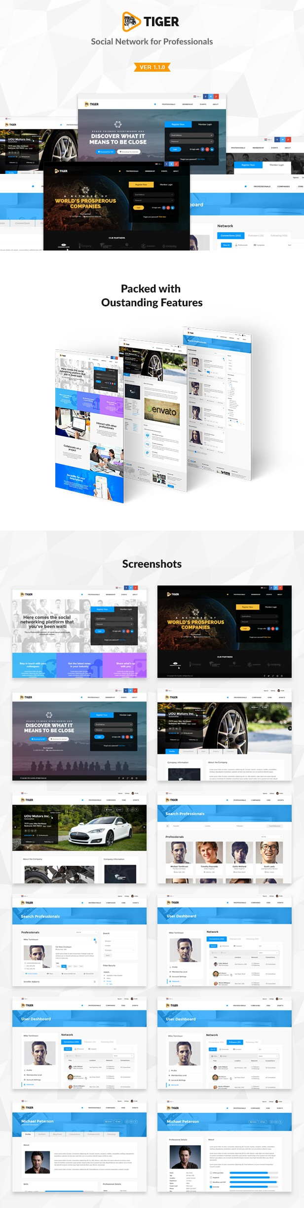 Tiger - Corporate Social Network Template   Social networks and Template