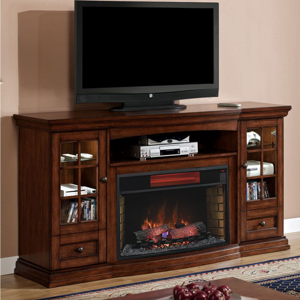 Cheap legends furniture cambridge fireplace media center in cherry - Seagate Infrared Electric Fireplace Entertainment Center In Premium Pecan 32mm4486 P239