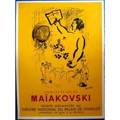Marc Chagall - 70 Years of Maiakovsky - Original 1960s Poster