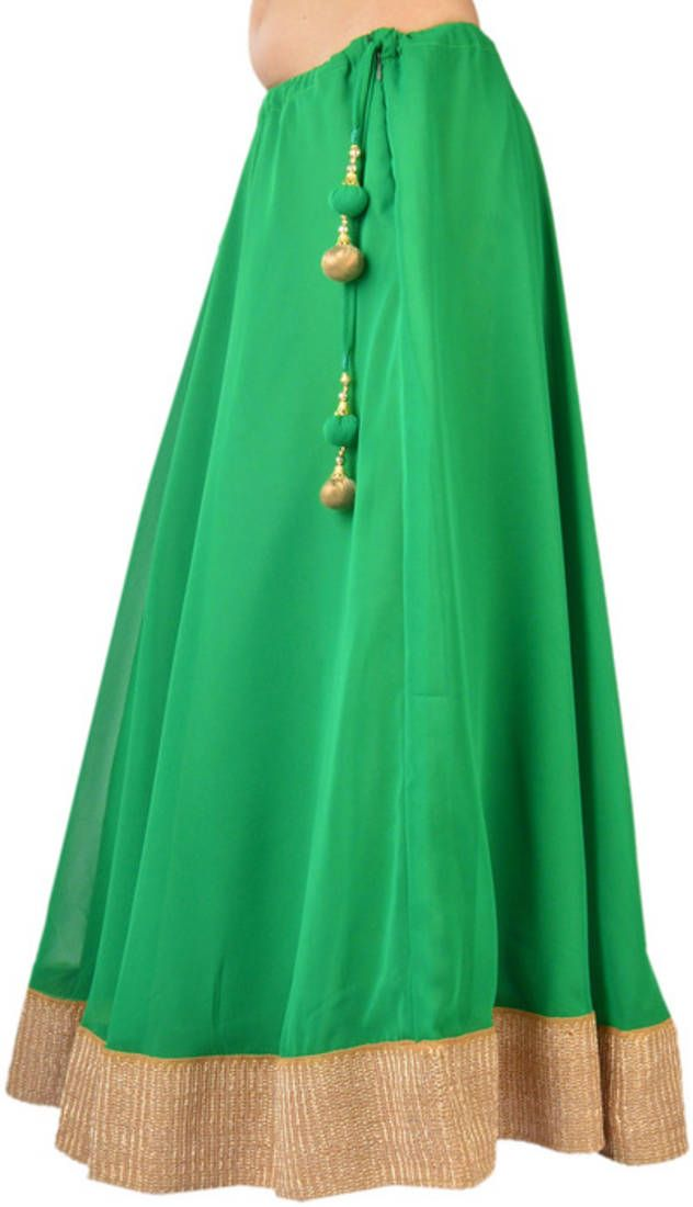 Georgette green gotta patti skirt with tassel | Tassels, UX/UI ...