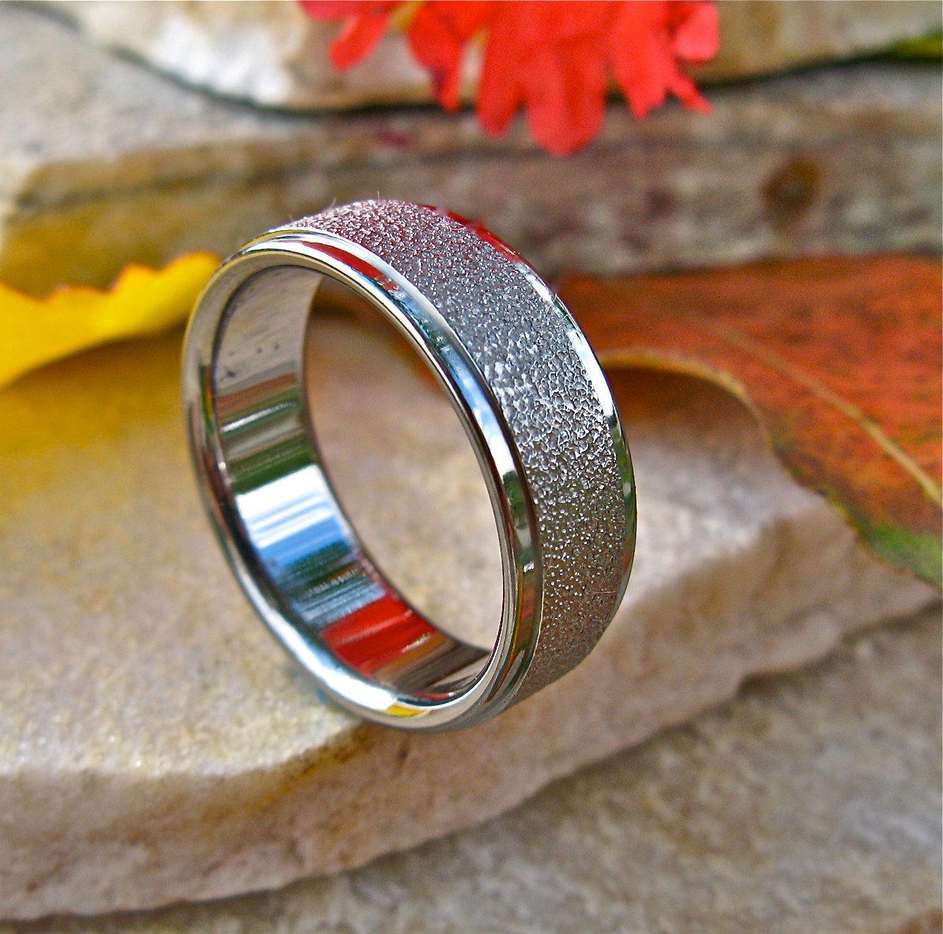Frost Titanium Wedding Band Custom Textured Titanium