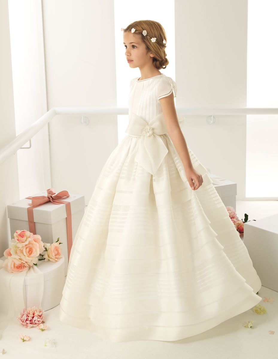 1c48828c16e Can a communion dress be more elegant  Love the simple natural hairstyle