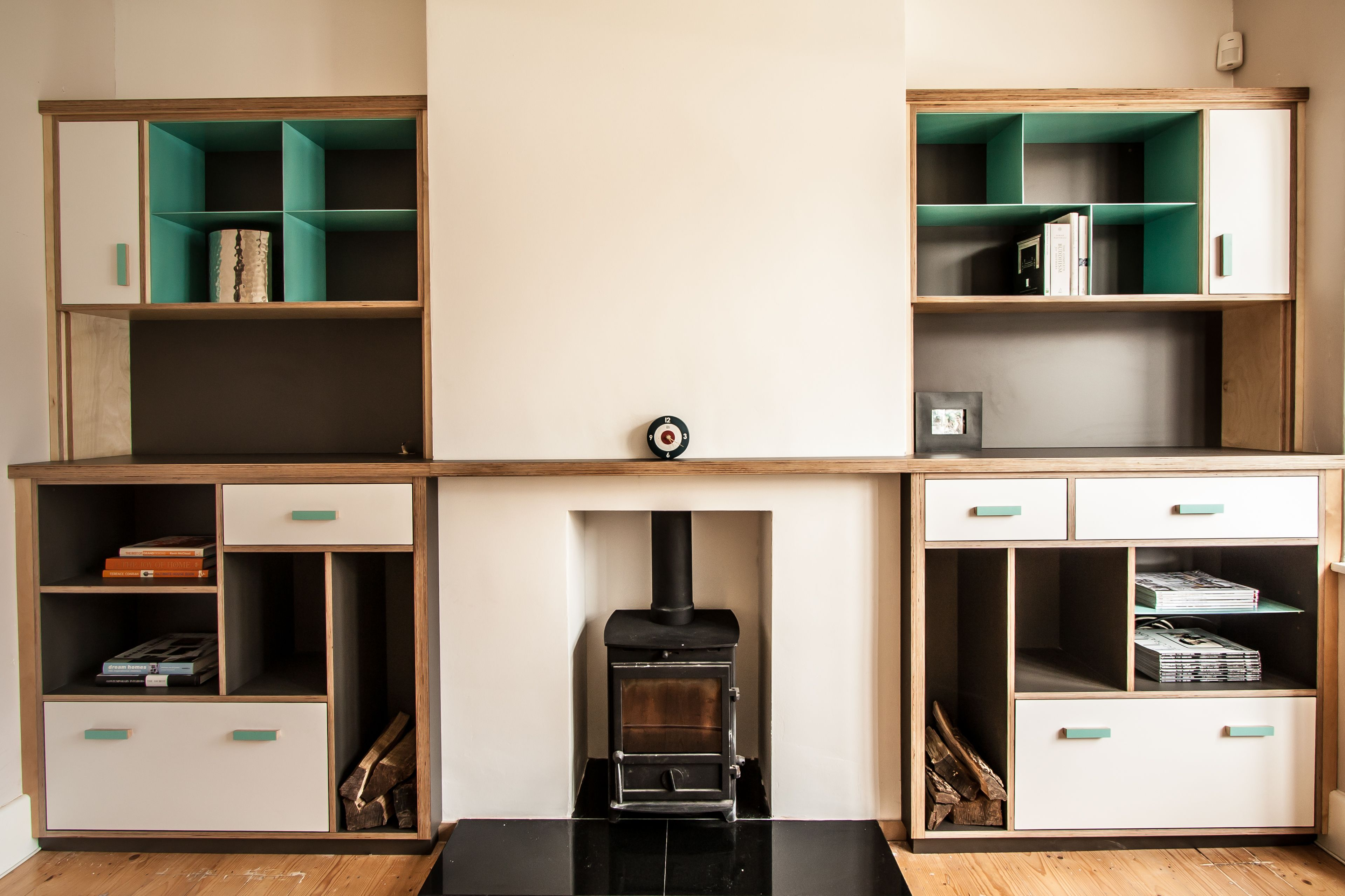 Birch Ply Wall Alcove Unit, With Horizontal Shelf Continuing Across