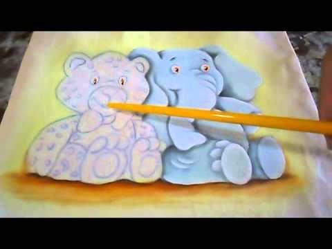 Pintando Elefantinho e Oncinha - Pintura em Tecido - YouTube