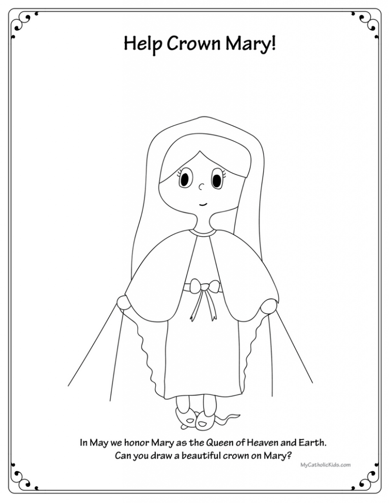may crowning coloring sheet printable catholic printables