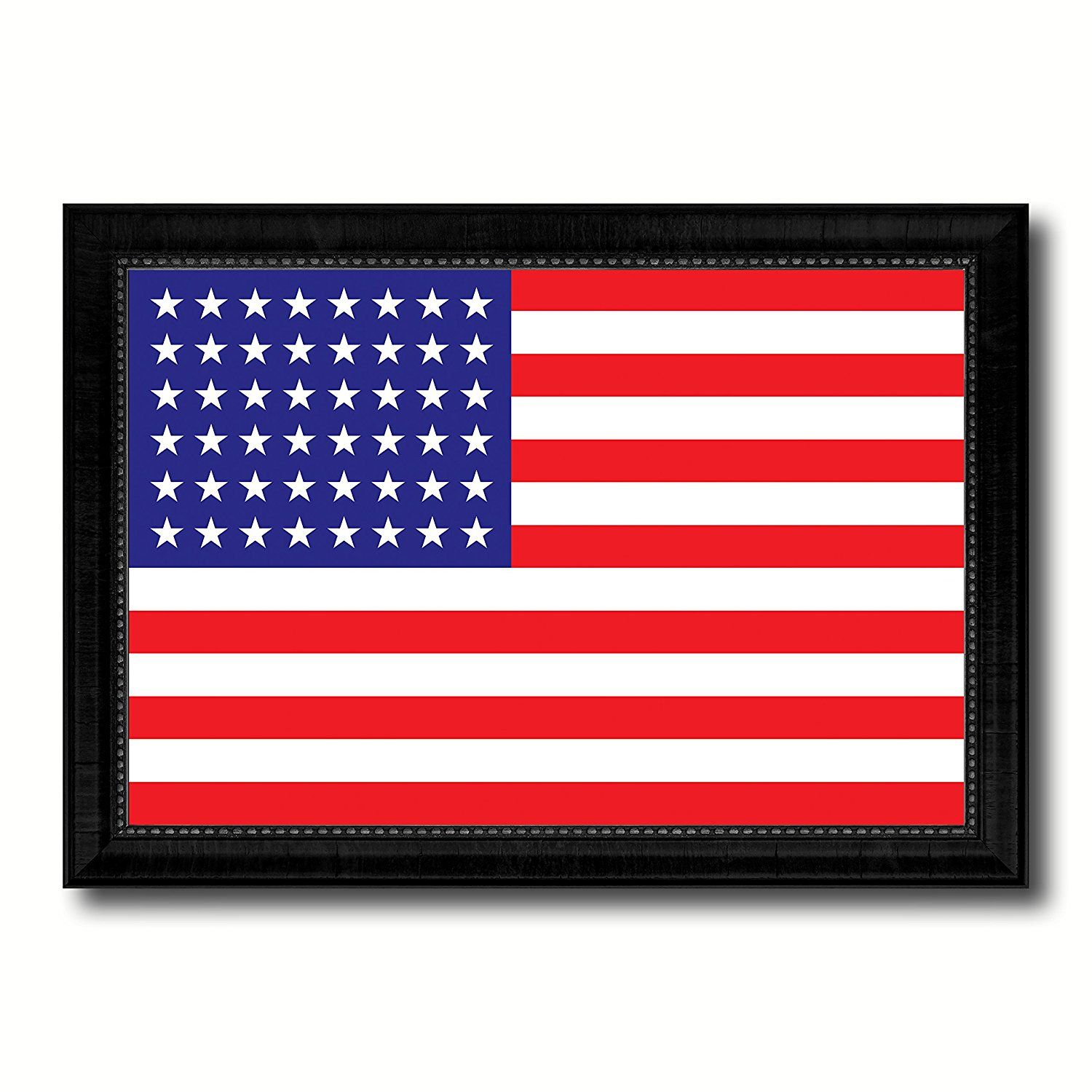 stars military flag canvas print with black picture frame gift