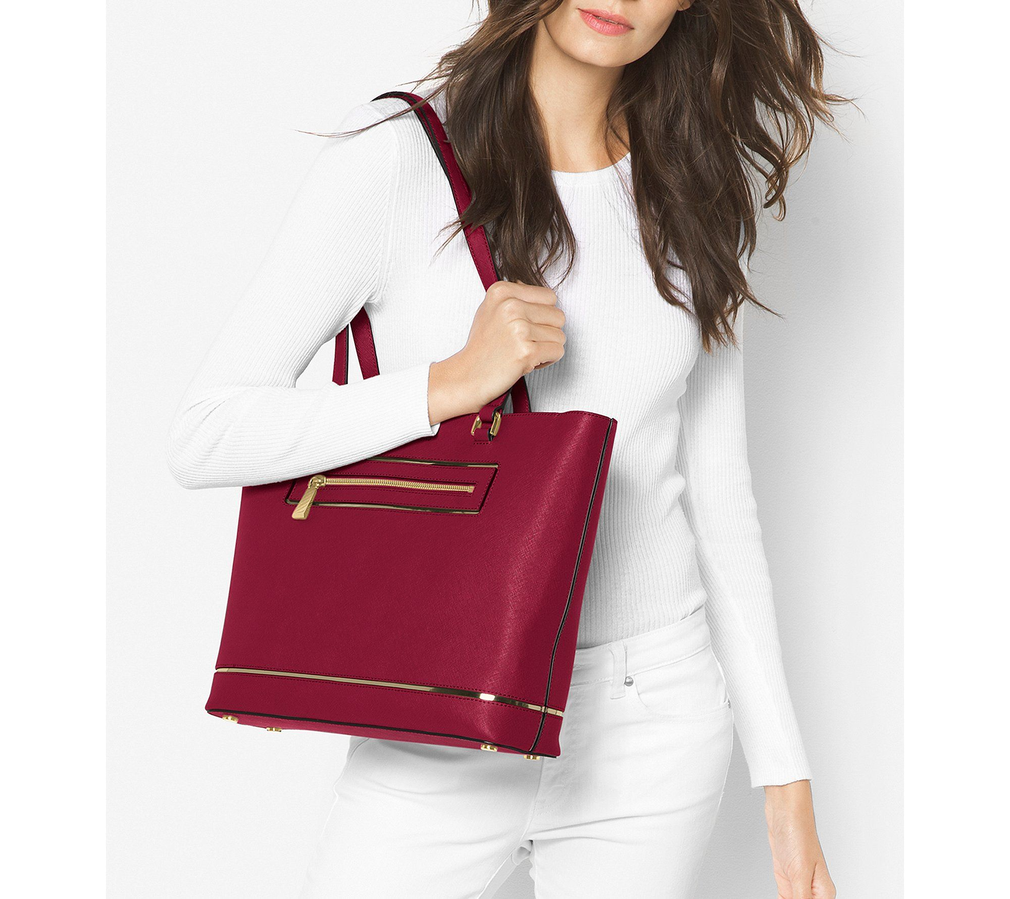 c76851211f4f MICHAEL Michael Kors Frame Out Item Large North South Tote Cherry >>> Be  sure to check out this awesome product. (This is an affiliate link) 0